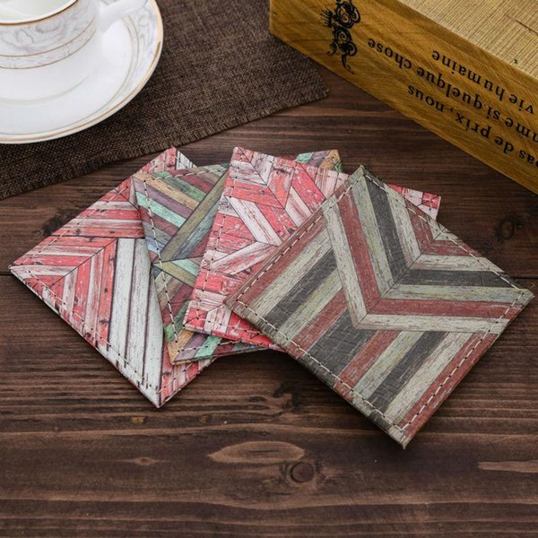 Wholesale- LINKWELL Set of 4 10cmx10cm Geometric Vintage Pattern Wood Slat Coast Bar Coaster Old Look Table Cup Holder Drink Placemat Mat