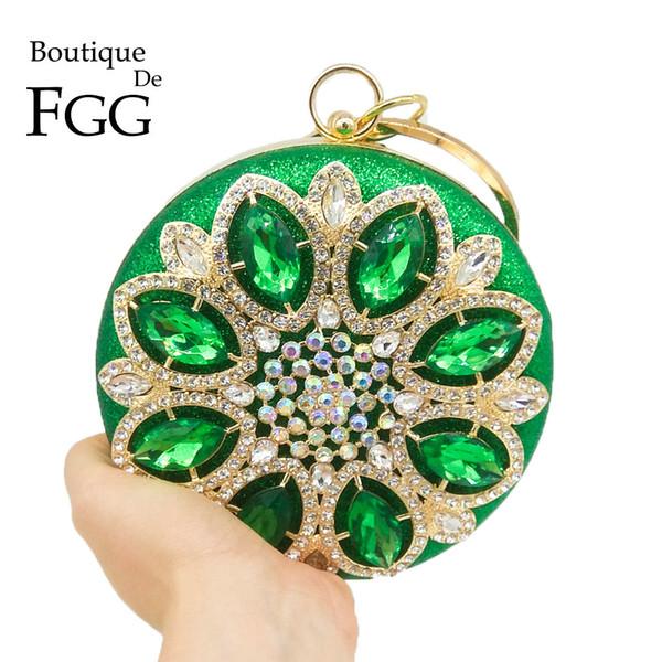 Boutique De FGG Runde Runde Green Diamond Frauen Abendtaschen Metall Wristlets Clutch Geldbörse Hochzeit Prom Kristall Handtasche