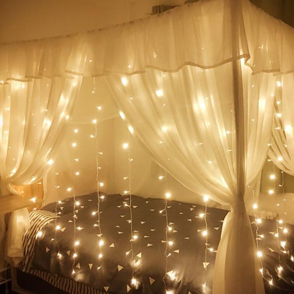 커튼 조명 크리스마스 조명 4 * 3M 400LED 창 문자열 빛 웨딩 파티 홈 가든 침실 야외 실내 벽 장식 플래시