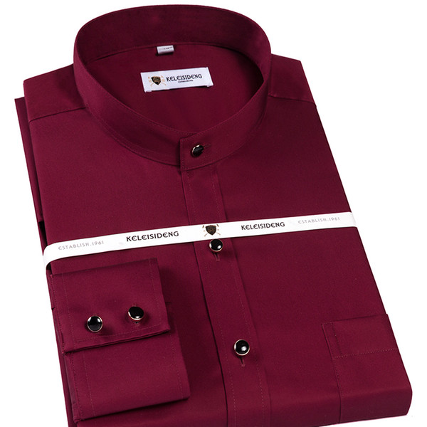 Men's Long Sleeve Banded Collar Solid Dress Shirt with Pocket Comfy Soft 100% Cotton Formal Male Business Regular-fit Shirts