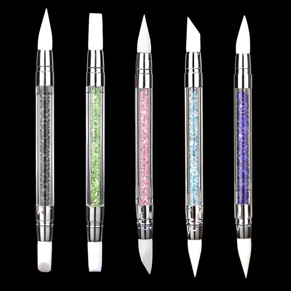 2 Way Rhinestone Crystal Nail Art Brush Pen Silicone Head Carving Shaping Hollow Sculpture Acrylic Manicure Dotting Brushes Tool