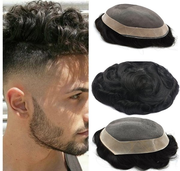 Fine Mono Mens Toupee Mono With Pu around Human Hair Wigs Indian Remy Hair Hairpiece Replacement Systems Toupee for Men