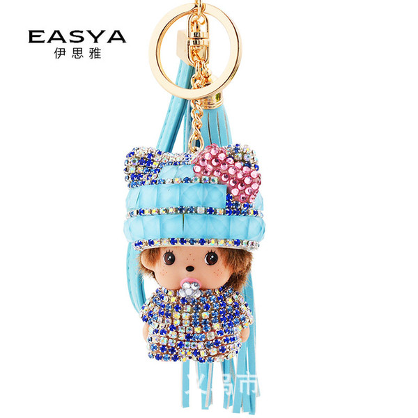 El verano coreano franjó el llavero monchie, colgante del bolso de la manera de la muchacha, colgante auto, venta caliente de Taobao