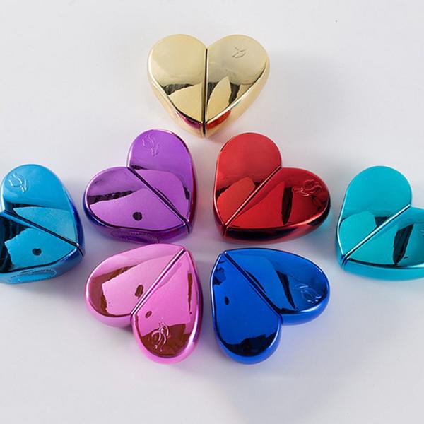 Venta al por mayor en forma de corazón 25ml botella de perfume de vidrio tornillo cuello recargable bomba pulverizador pulverizador de perfume grueso botellas de vidrio 7 colores