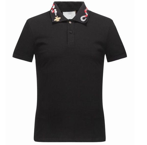 Frühling Luxus Italien Tee T-Shirt Designer Polo Shirts High Street Stickerei Strumpfband Schlangen Kleine Biene Druck Kleidung Herren Marke Poloshirt