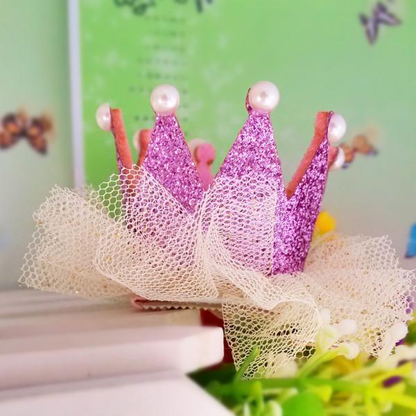 M Mism Neue Ankunft Mädchen Garn Haarschmuck Perlen Crown Shaped Stoff Haarnadeln Bb Weihnachten Tanzen Party Prinzessin Haarspange 10 stücke