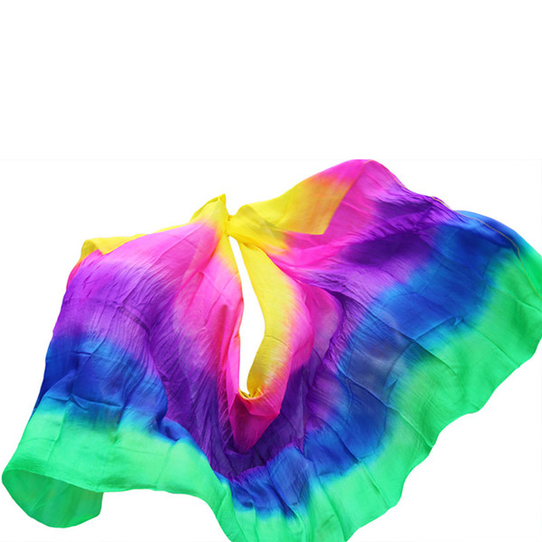 Classic 250*114cm Real Silk Veils Belly Dance Stage Performance Props Handmade Dyed Scarf Bellydance Accessories For Kids Adults
