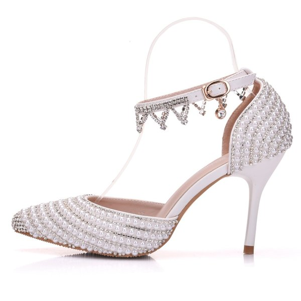 New spring elegant pointed toe shoes for women White pearls high heel wedding shoes thick heels Beautiful srystal chain Plus Size Shoes