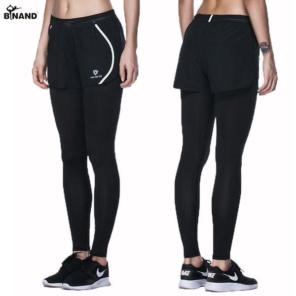 BINAND Women Yoga Pants Slim Double Layer Training Running Pants High Elasticity Hollow Waist Sweat Jogging Fitness Trousers