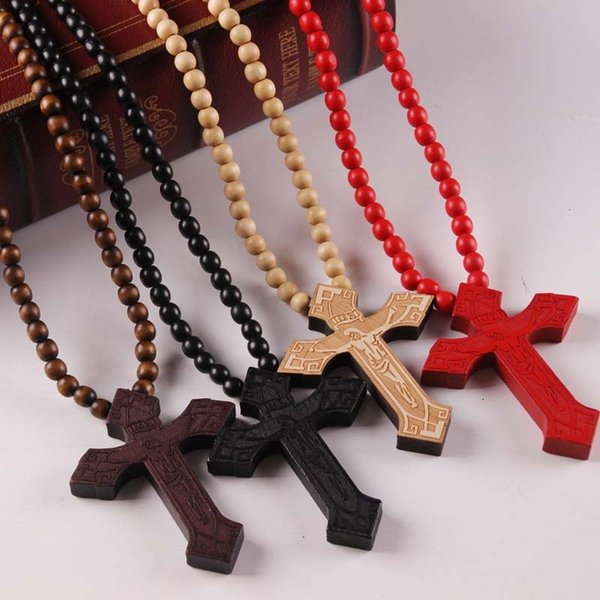 Wholesales 5 Colors Cross Wood Beads Pendant Hip Hop Jewelry Designer Jewelry Sliver Choker Beads Mens Necklace Mens Chain