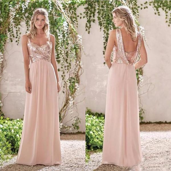 Compre 2017 Sparkly Rose Gold Vestidos De Dama De Honra Longo Chiffon Lantejoulas A Linha Drapeado Namorada Com Baixo Voltar Maid Of Honor Vestido De