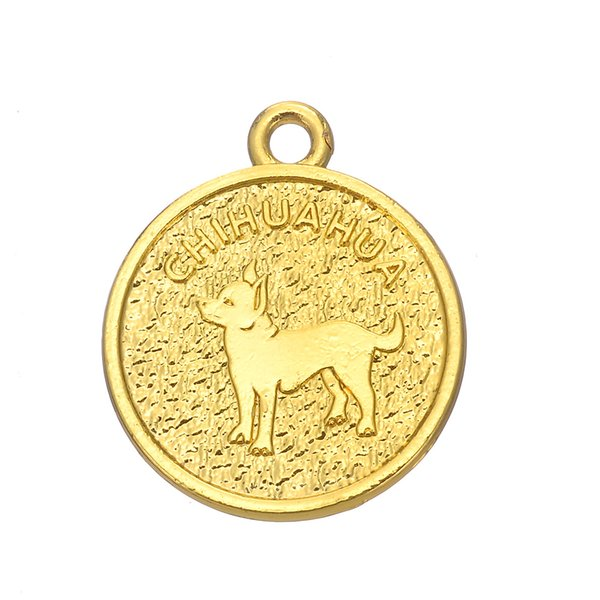 lemegeton 10PCS/Lot Zinc Alloy Pet Dog Chihuahua Medal Charms Sliver/Gold Pendnats For Necklace & Bracelets Making Handmade Crafts