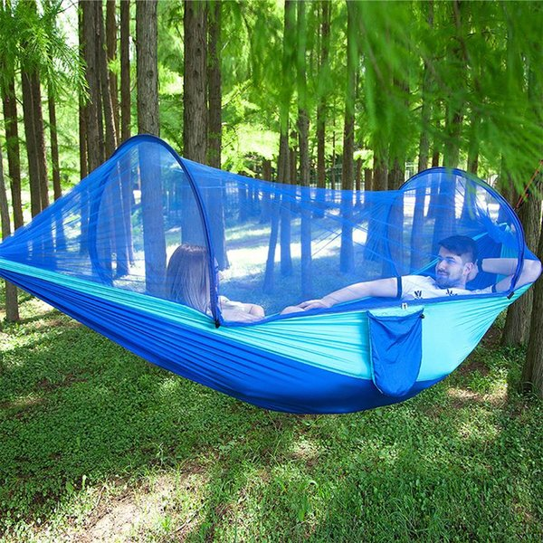 New Outdoor Camping Parachute Hammock Mosquito Net Double Leisure Sleeping Hanging Chair Tent Travel Survival Army Green