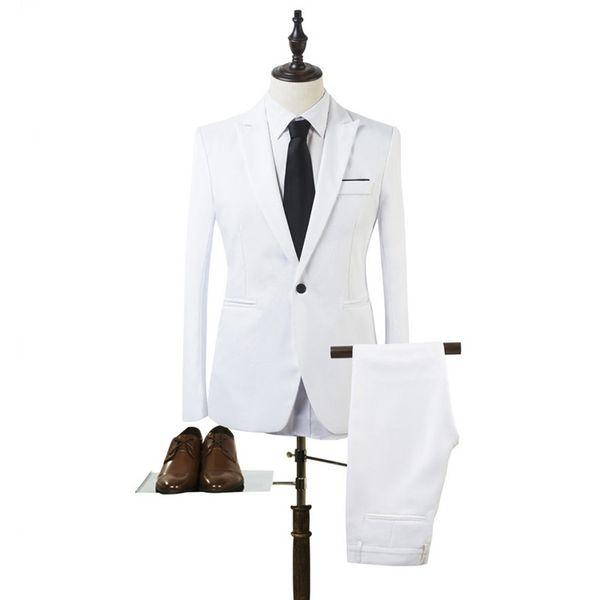 2018 Homens Ternos Branco Pico Lapela Slim Fit Ternos Formais Do Casamento Do Noivo de Negócios 2 Peça Custom Made Melhor Homem Do Smoking Do Terno Blazer Moda