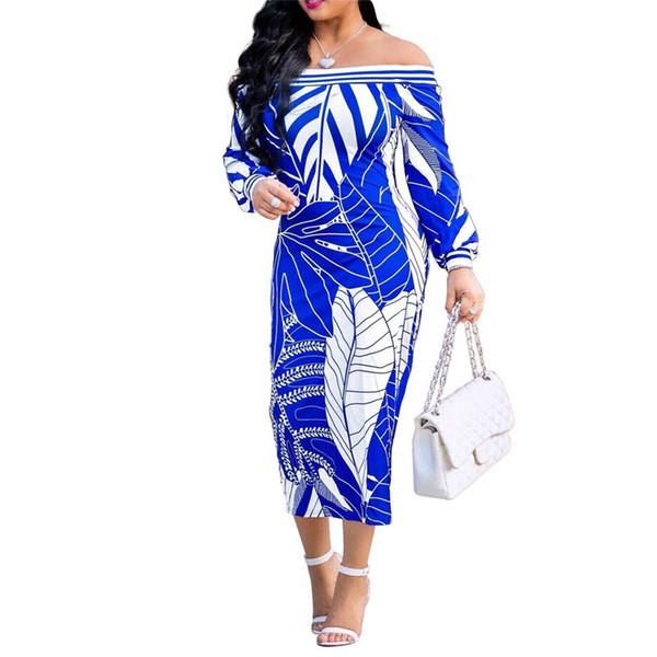 Laissez imprimer Sexy Bodycon Dress 2018 Femmes Slash Neck À Manches Longues Crayon Dress Casual Épaule Froide Dos Nu À mi-mollet Robe