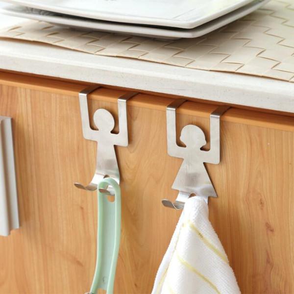 Hooks Stainless Steel Hanger hook Lovers Shaped Hook Kitchen Hanger Clothes Storage Rack Tool 2pcs/set