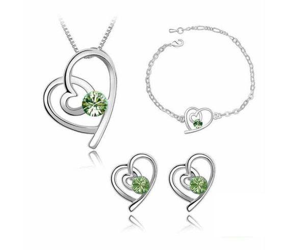 12 sets, Collar pendiente en forma de corazón de las mujeres Pendiente de la pulsera Juego de 3 piezas Con incrustaciones de cristal de Austria elementos de swarovski Conjunto de joyas brillantes