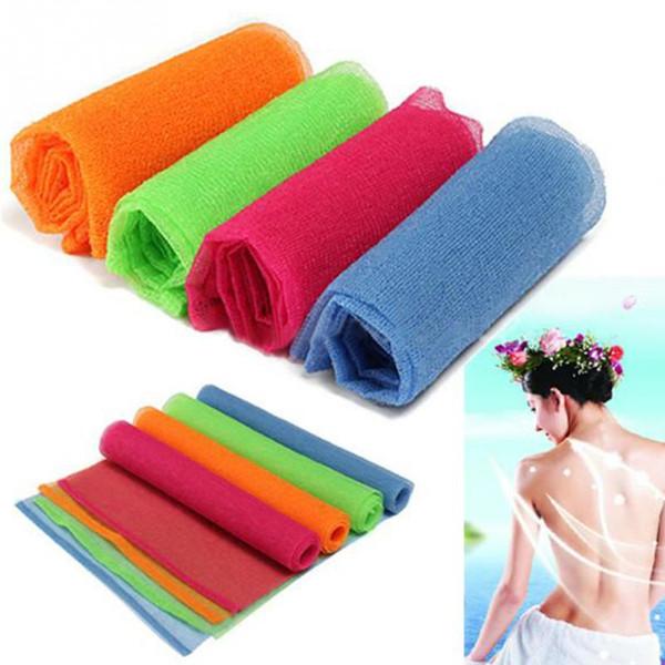 Nylon Mesh Bath Shower Body Washing Clean Exfoliate Puff Scrubbing Towel Cloth Bath Exfoliating Nylon Wash Cloth Random color