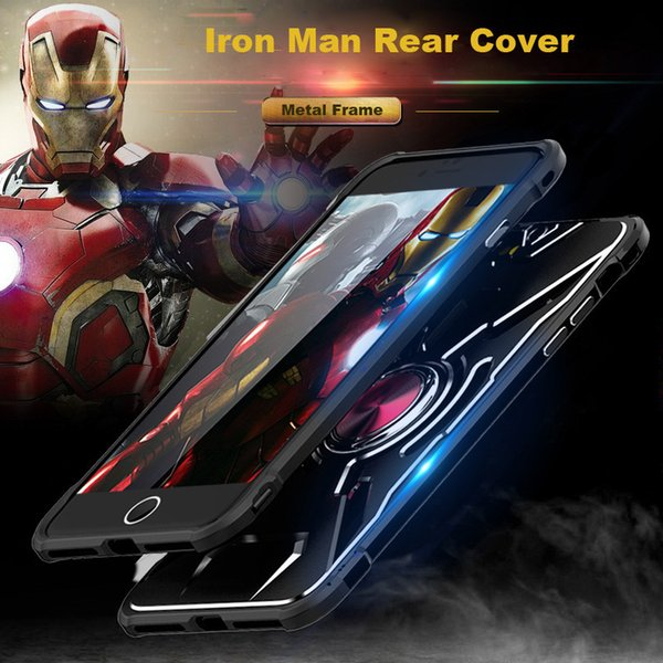 Black Silver Iron Man 2-in-1 Driving Absorption Magenet and Ring Metal Snap-in Phone Case for Iphone 6 6s 7 7s 8 8s X