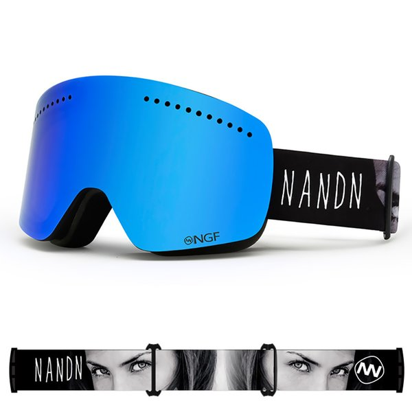 NANDN Ski Goggles UV400 Anti-Fog Double Lens Big Ski Mask Glasses Skiing Men Women Snow Snowboard Goggles Snow Sports Skiing