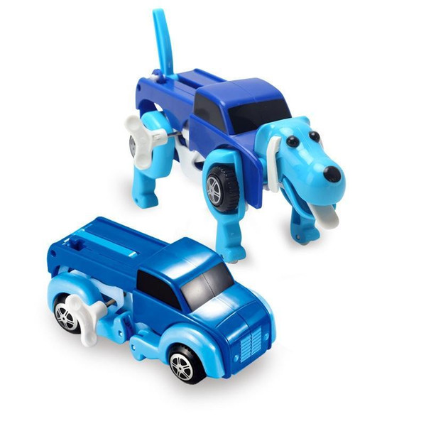 Wholesale- 4 Colors 12CM Cool Automatic Transform Dog Car Vehicle Clockwork Wind Up Toy For Children Kids Boy Girl Car Toy Gift