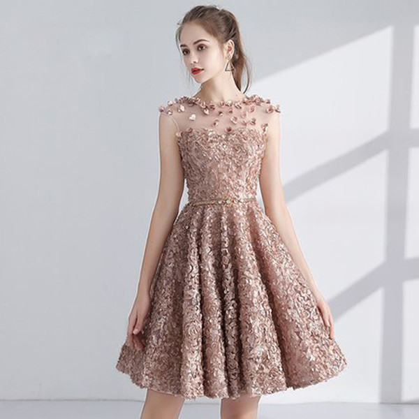 Compre 2018 Hermoso Vestido De Cóctel Fiesta Sin Mangas Apliques Flor De Ilusión Diseñador De Moda Elegantes Vestidos De Cóctel Cortos Y Graduación A