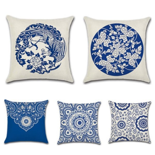 New Pillow Cover Hot Cotton Chinese Style Phoenix Blue and White Porcelain Flower Holder Pillowcase Cushion Cover Home Decor
