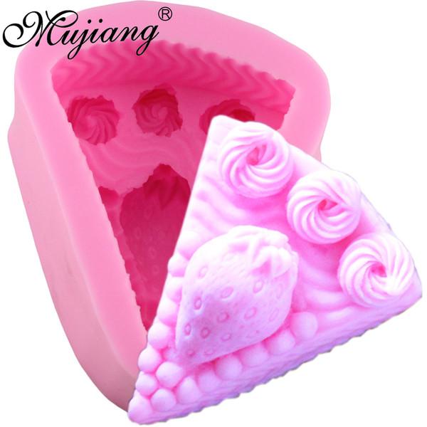 Großhandel Erdbeer Kuchen Backen Silikonform Fondant Kuchen Dekorieren Tools 3D Craft Soap Kerzenformen Schokolade Süßigkeiten Formen