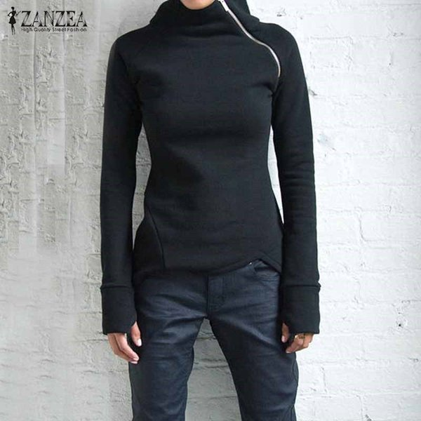 ZANZEA Kadınlar Hoodies Tişörtü 2018 Sonbahar Rahat Katı Uzun Kollu Balıkçı Yaka Kazaklar Fermuarlar Slim Fit Blusas Artı Boyutu Üst L18100701