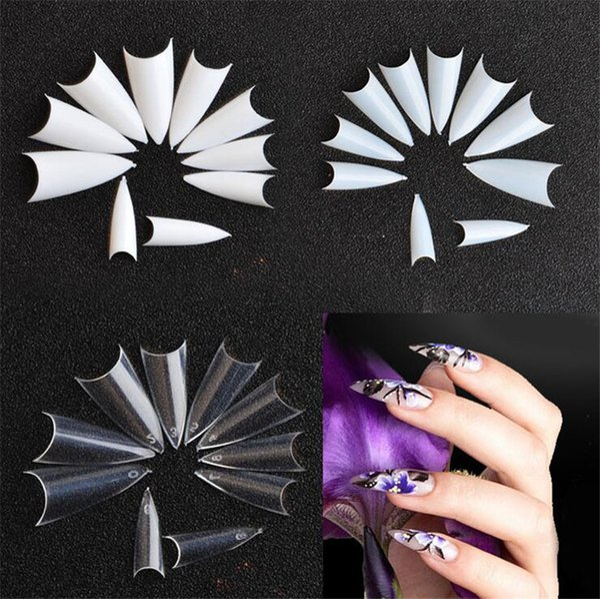 500pcs/lot French Tips False Nail Clear Natural White False Nail Point Stiletto French Acrylic UV Gel Tips