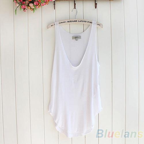 best selling Women's Summer Trendy Loose Sleeveless V-Neck Vest Tank Tops Tee Shirt 5 Colors 08RN