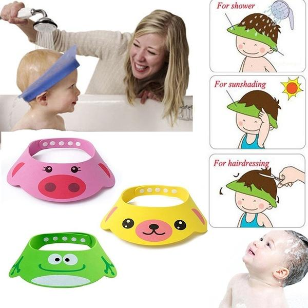 2019 Toddler Kids Wash Hair Shield Direct Visor Caps Shampoo Bathing ... 097b7d58d57f