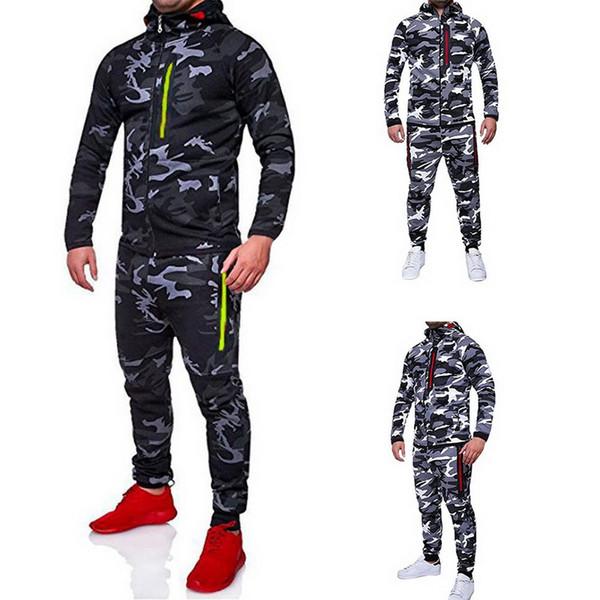 CALOFE 2018 Outono Men Sportwear Calças Jaquetas Treino Moletom Com Capuz Camuflagem Fatos de Treino Conjunto Ao Ar Livre Sportswear Suor Terno