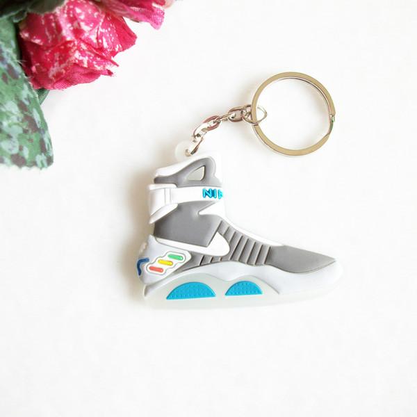 Mini Silicone de Volta Para O Futuro II Glow In The Dark Air Mag Chave Chaveiro Sapatos Sneaker Chave Do Carro Titular Saco Charme Anéis