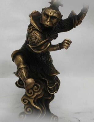 "9 "" Chinese Bronze Monkey King Famous Myth Sun Wukong Buddha Statue Figures"