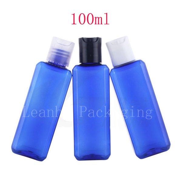 100ml blue square lotion bottles , empty cosmetic shampoo container with disc top cap, 100cc DIY oil liquid soap plastic bottle