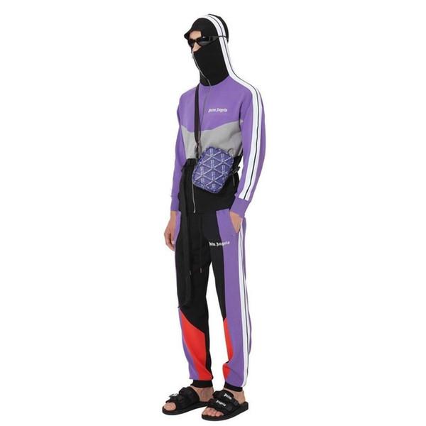 Palm Angles Hip Hop Color Matching Jacket Pants Set Spring Autumn Luxury Sport Coat Sweatshirt Street Outwear Pants Tracksuit HFYMTZ026