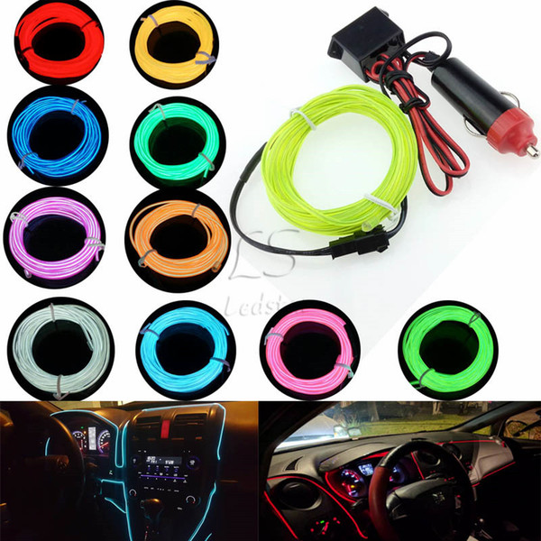 best selling Car Cigarette Lighter Plugs 12V 1M 2M 3M 5M LED light 10 Colors EL Wire Tube Rope Flexible Neon Cold Light Car Decor
