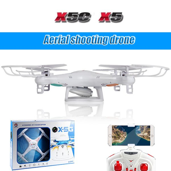 X5C 4 Wings Photography Model Aircraft 2.4G Altitude Hold 2MP HD Camera Quadcopter RC Drone WiFi FPV Live 6-Axis Remote Control Helicopter