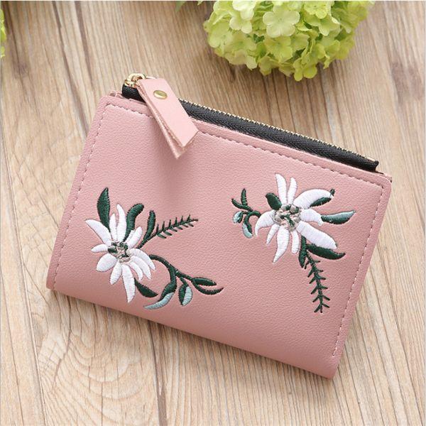 2018 женщин вышивка молния короткий кошелек цветок держатели монет кошелек карты молния сумка carteira feminina Dropshipping