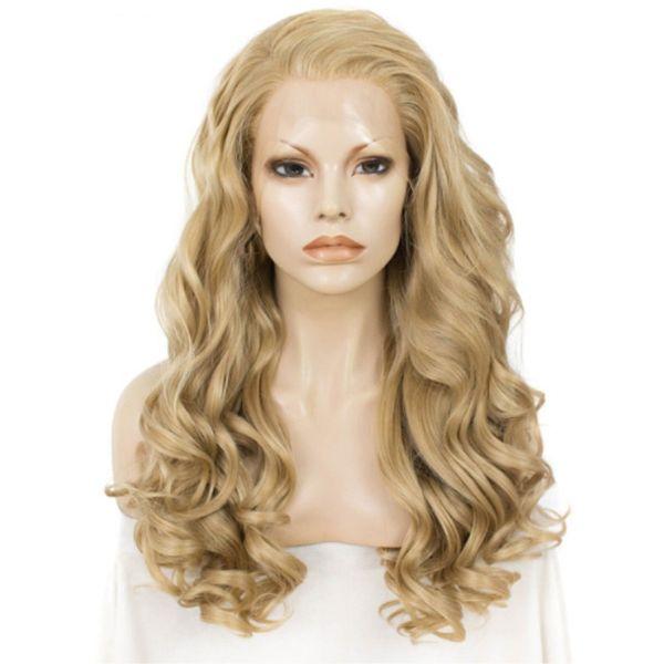 Cadılar bayramı Tarzı Uzun Dalgalı Sarışın Peruk Kadınlar Için Dantel Ön Peruk Isıya Dayanıklı Fiber Sentetik Dantel Peruk 24 Inç Uzun Doğal Saç Cosplay