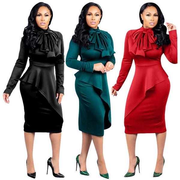 Women dress autumn winter womens clothes Large size plus dresses irregular stitching bow dress Fashion