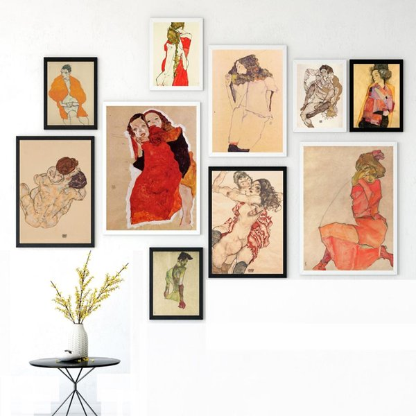 Egon Schiele Body Color Delineation Sketch Canvas Art Print Painting Poster Wall Picture For Living Room Home Decor