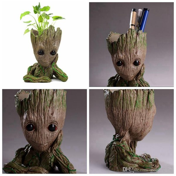 Groot Flower Pot Plant Tree Men Fairy Garden Pot Pen container Anime Movie Collection Action Figure Model PVC Kids Toys