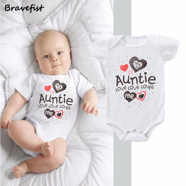 Белый новорожденный боди моя тетя любит меня письма печати Детские комбинезоны летние дети мальчики девочки одежда Одежда наряды 0-2Y