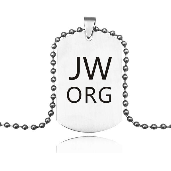 Neueste JW. Org Anhänger Halskette Edelstahl Dog Tag Halskette Keychain Metall Männer Frau Modeschmuck