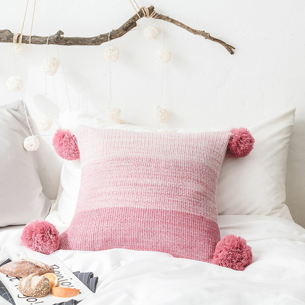 mylb New Nordic Style Throw Pillow Covers with Tassels Green Ivory Pink Decorative Pillow Case Live Room Chair Seat Square