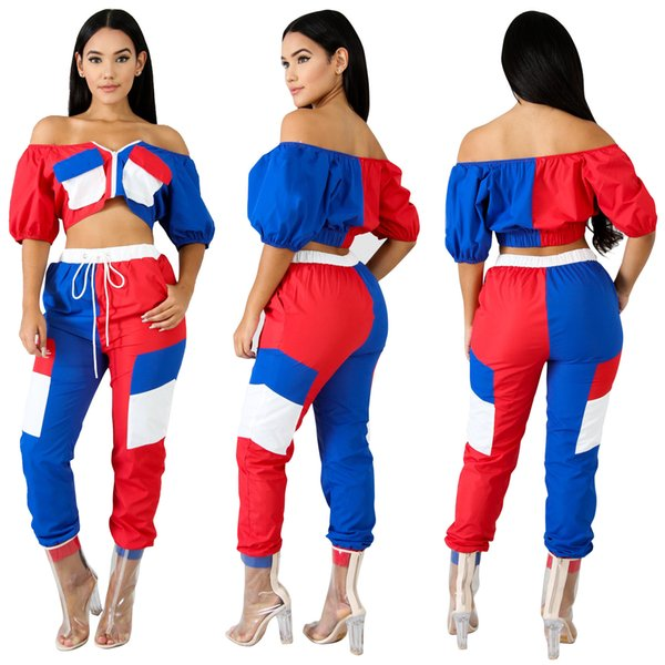 2018 Autumn Blue Red White Mixed Colors Women Tracksuits Zipper Front Half Sleeves Short T Shirt and Long Pants Two Pieces Suits Real Image