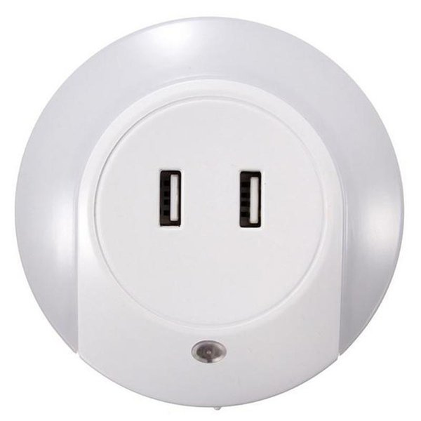 Led Night Light Sensor Dual Usb Socket Charger Us//eu Plug Warm Lighting Lamp