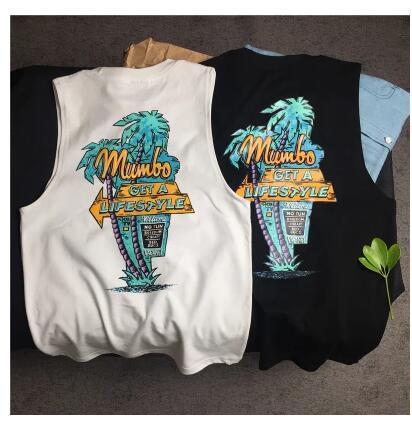 New original surfing vest men's beach cotton printed sports vest basketball men and women couple models summer sports